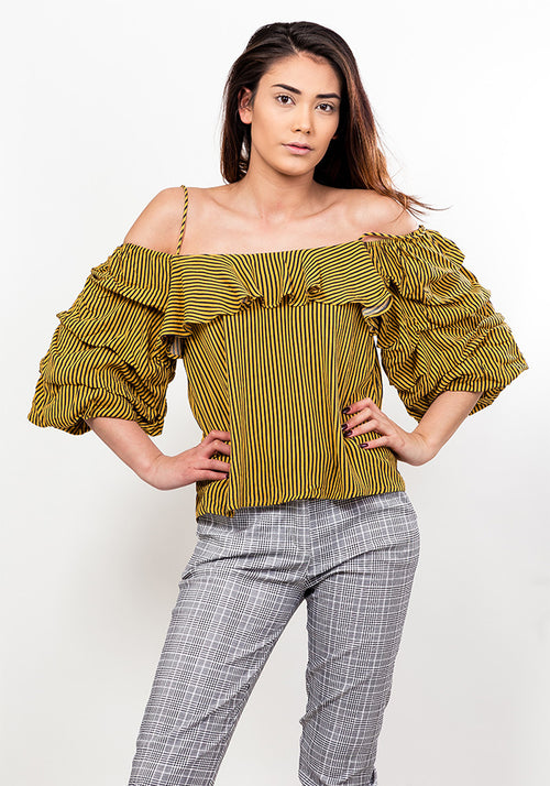 Off shoulder striped frill blouse