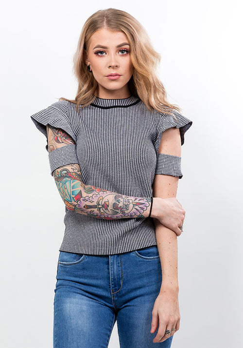Knitted crop top with frill detail