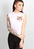 Bub Moto Crop Top in white