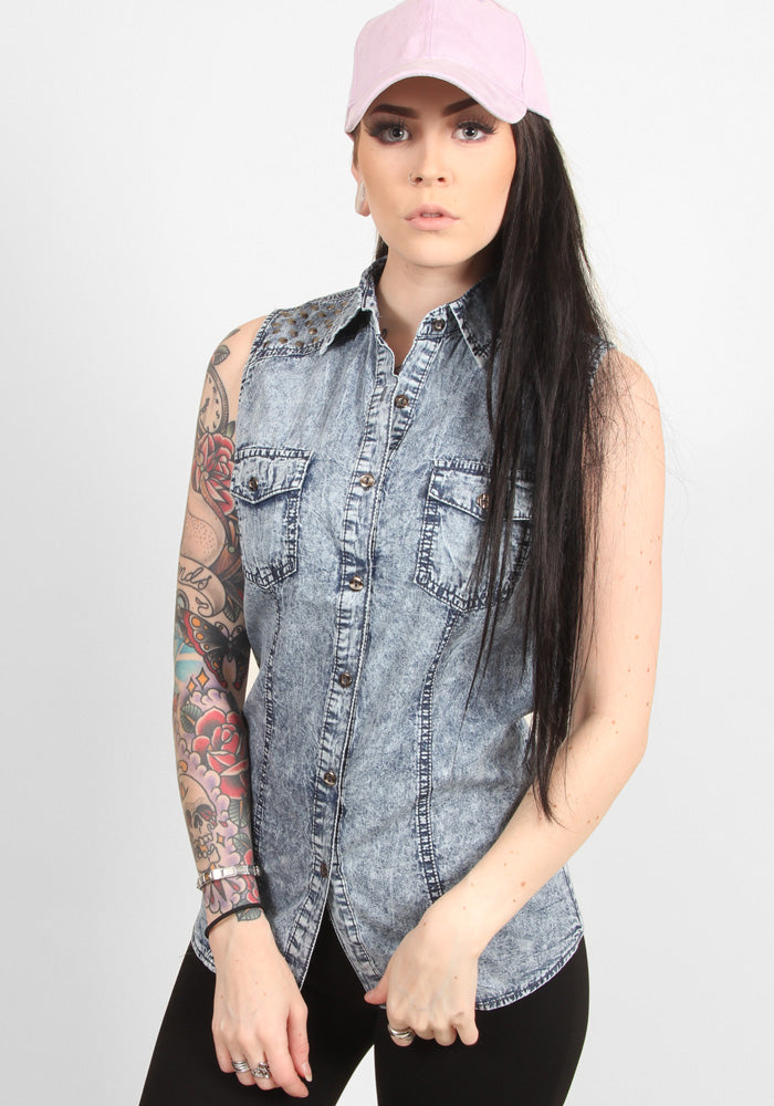 Denim sleeveless top with shoulder detail