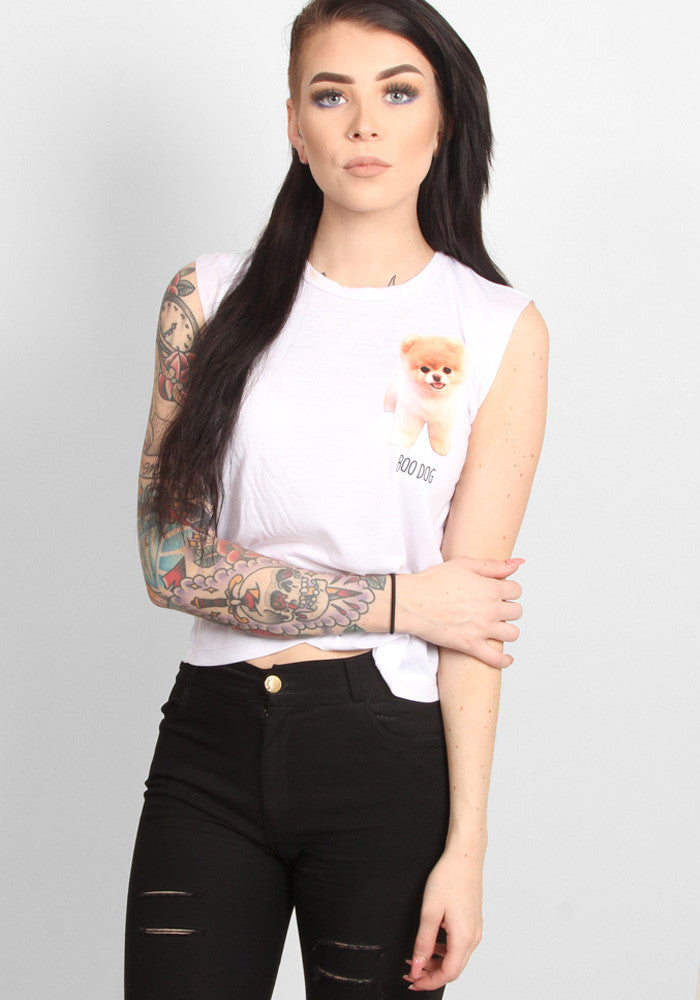 Boo Moto Crop Top in white