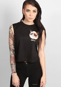 Grumpy Cat Moto Crop Top in black