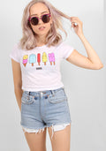 Ice cream crop tee in white
