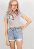 Ice cream crop tee in grey
