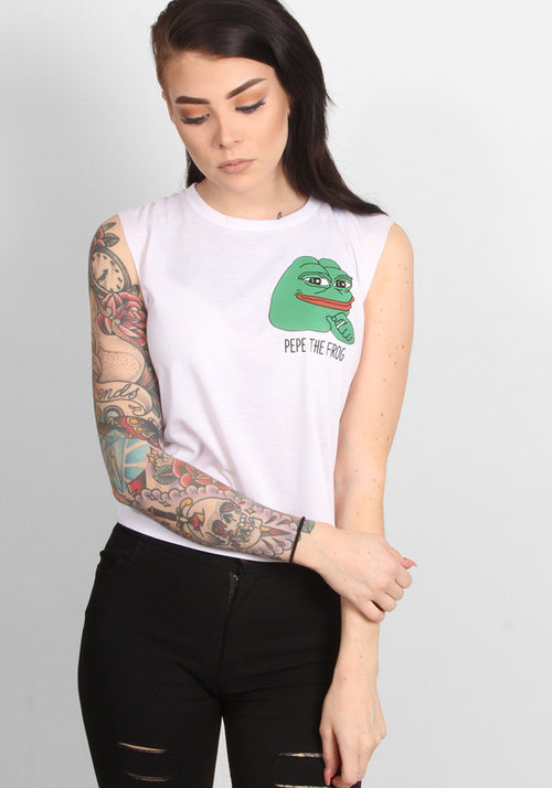 Pepe Moto Crop Top in white