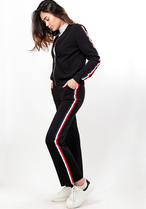 Side stripe tracksuit set in black