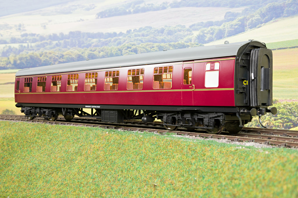 Darstaed 7mm Finescale O Gauge Mk1 RSO (Restaurant Second Open) Maroon, Newly Tooled Bogies & Wheels