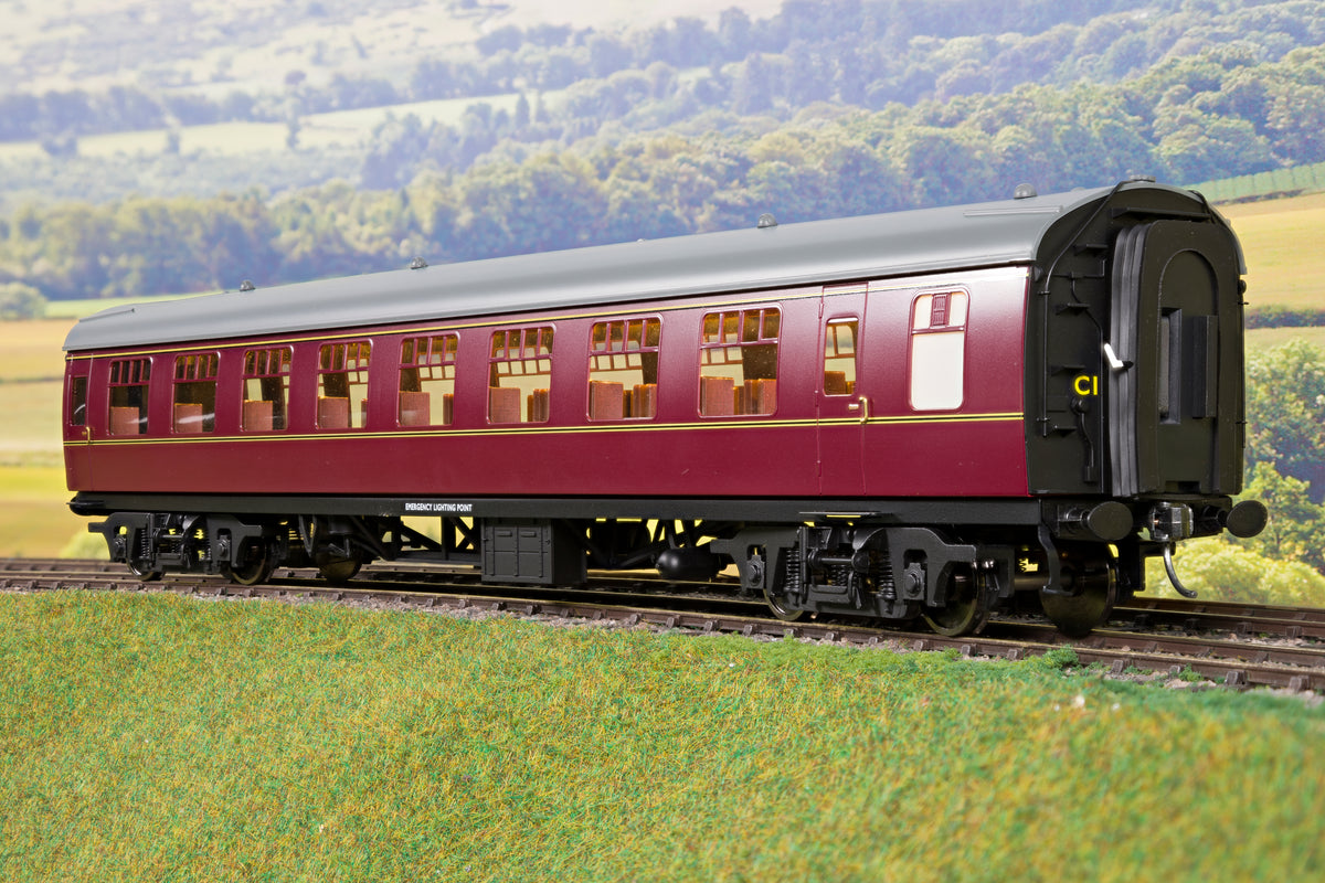 Darstaed D21-5-09CW Finescale O Gauge BR Mk1 RSO (Restaurant Second Open), Lined Maroon with Commonwealth Bogies