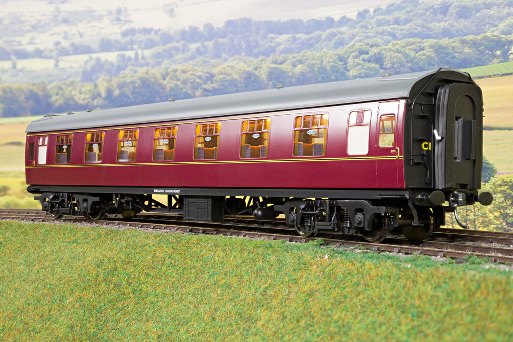 Darstaed 7mm O Gauge Finescale Maroon BR Mk1 RFO (Restaurant First Open) with Commonwealth Bogies
