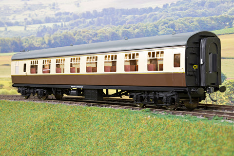 Darstaed 7mm Finescale O Gauge Mk1 RSO (Restaurant Second Open) Choc & Cream, Newly Tooled Bogies & Wheels