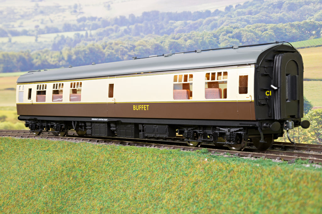 Darstaed 7mm Finescale O Gauge Mk1 RMB (Restaurant Buffet) Choc & Cream, Newly Tooled Bogies & Wheels