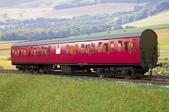 Darstaed D23-5-3 7mm Finescale O Gauge BR 57' Mk1 Second Open W/Lav. (SLO) Coach, Crimson