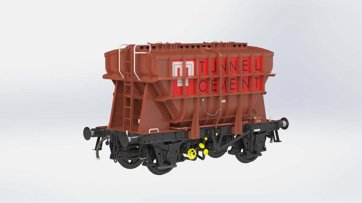 Ellis Clark Trains E73-1-2A Finescale O Gauge Presflo Wagon 'Tunnel Cement' 'B873347' (TOPS), Bauxite (Pre-order)
