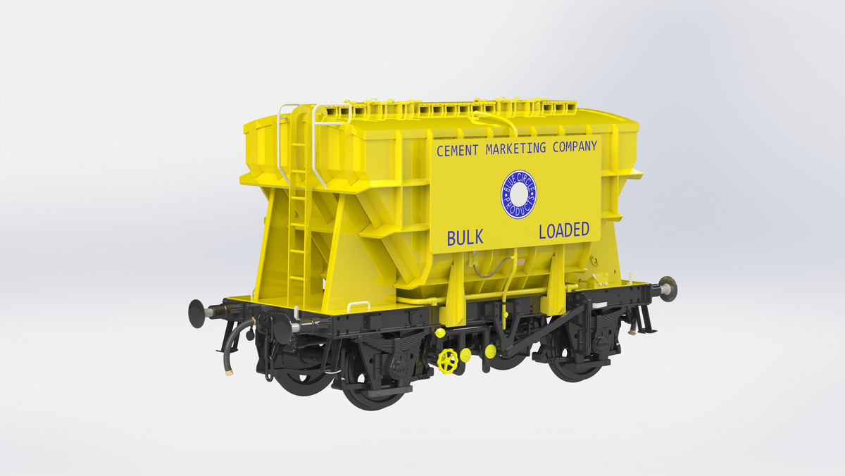 Ellis Clark Trains E73-1-3B Finescale O Gauge Presflo Wagon 'Blue Circle' 'PF12' (Pre-TOPS), Yellow (Pre-order)