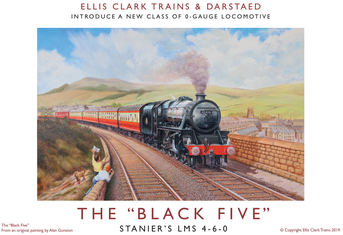 "Darstaed D11-8 7mm Finescale O Gauge Stanier Class 5 4-6-0 ""Black 5"", Early BR Lined, Un-numbered with Riveted Tender (pre-order)"