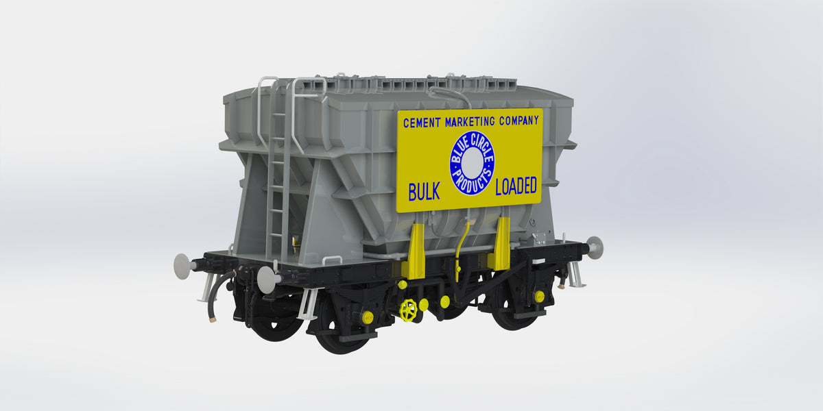 Ellis Clark Trains E73-1-8A Finescale O Gauge Presflo Wagon Plain Grey 'PF163' TOPS w/Marketing Board, (Pre-order)