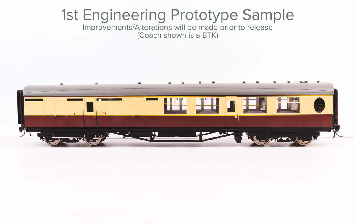 Darstaed D24-3-02RA Finescale O Gauge LNER/BR Thompson Mainline BTK (Brake Third) Coach, Lined Maroon 'E1689E' (Pre-order)