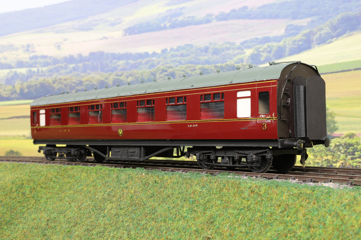 7mm Finescale O Gauge Kit Built LMS Lined Maroon TK Passenger Coach '1638'