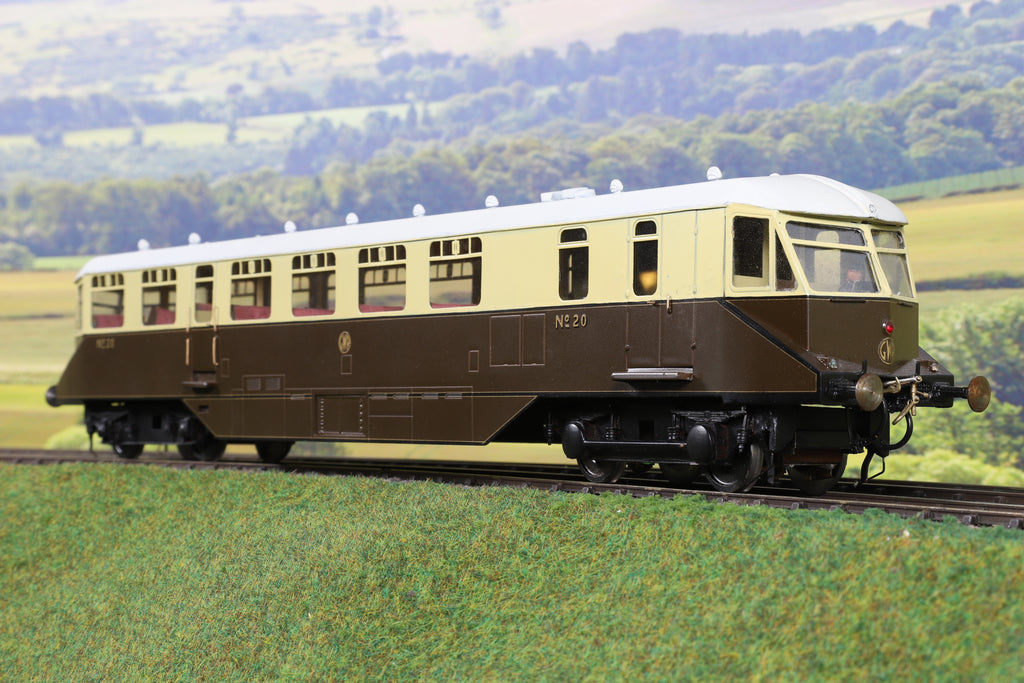 7mm Finescale O Gauge Kit Built GWR Chocolate and Cream Railcar '20'