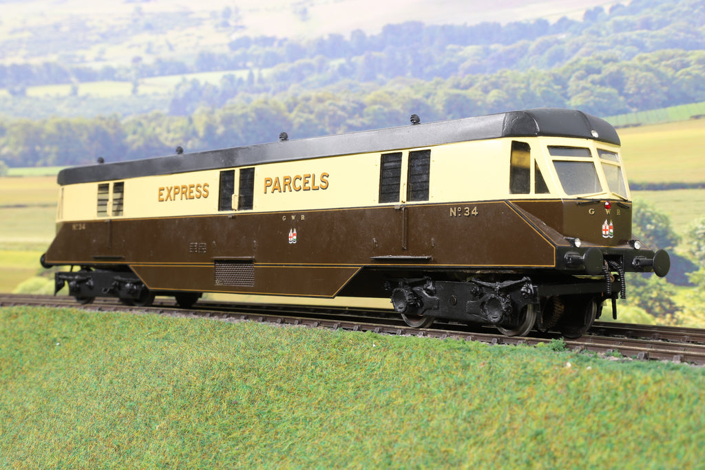7mm Finescale O Gauge Kit Built GWR Chocolate and Cream Railcar 'No.34' 'Express Parcels'