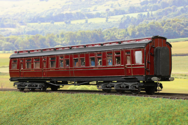 7mm Finescale O Gauge Scratch Built Midland Rail Lined Maroon Twelve Wheel Dining Car '2593'