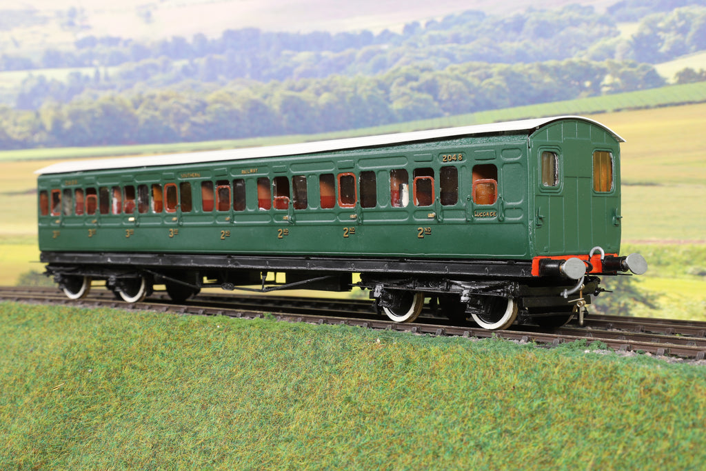 7mm Finescale O Gauge Kit Built SR Green 2nd/3rd Class Compartment Coach '2048'