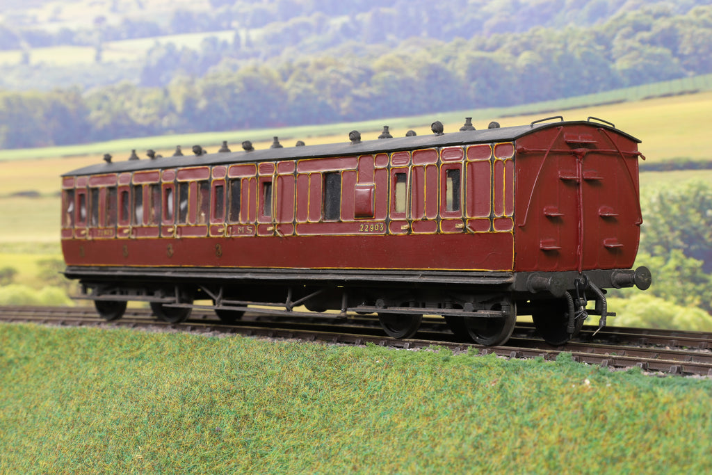 7mm Finescale O Gauge Kit Built LMS Lined Maroon Brake/Third Passenger Coach '22903'