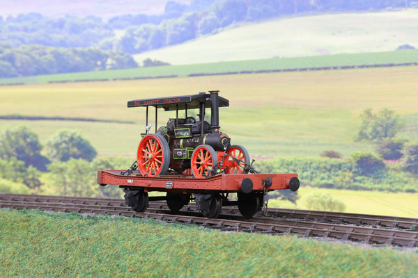 7mm Finescale O Gauge Kit Built MR Flat Wagon '60172' with 'Garrett' Tractor Load Weathered!