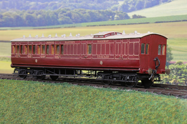 7mm Finescale O Gauge Scratch Built NER Lined Maroon Brake/Third Passenger Coach