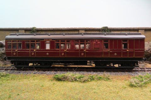 7mm Finescale O Gauge Kit Built Midland Lined Maroon Clerestory Third/Brake Coach