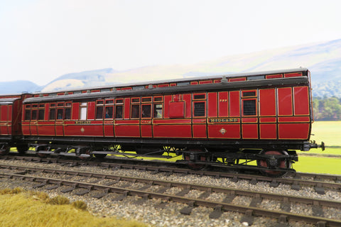 7mm Finescale O Gauge Kit Built Rake of Four Midland Lined Maroon Clerestory Coaches