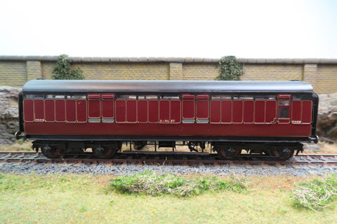 7mm Finescale O Gauge Kit Built LMS Maroon Lined Full Brake Coach '2562'