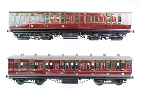 7mm Finescale O Gauge Kit Built Pair of Midland Lined Maroon Coaches '1465' & '863'
