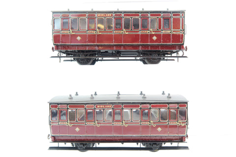7mm Finescale O Gauge Kit Built Pair of Midland Lined Maroon Suburban Coaches
