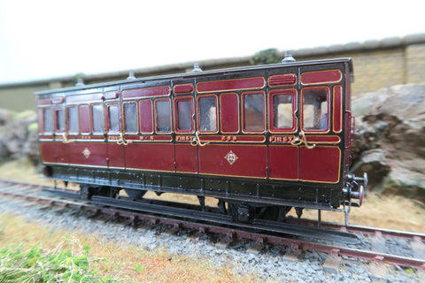 7mm Finescale O Gauge Kit Built Rake of Three Midland Lined Maroon Coaches