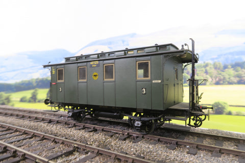 O Gauge DR Green Four Wheel Clerestory Third Class Passenger Coach '40125'