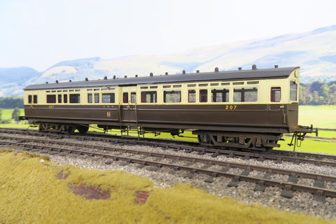 7mm Finescale O Gauge Kit Built GWR Chocolate and Cream Autocoach '207' Weathered!