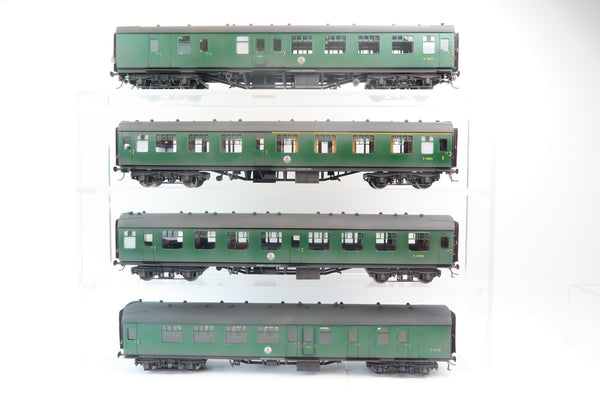 Darstaed 7mm Finescale O Gauge Mk1 Coaches Set A (4 Coaches) Southern Green (weathered)