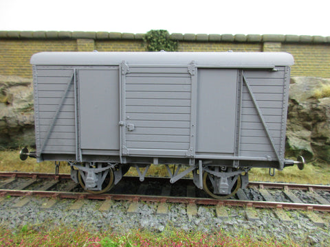 7mm Finescale O Gauge Kit Built Box Van Wagon, Plain Grey