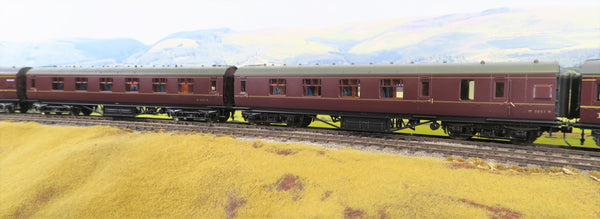 MTH 7mm Finescale O Gauge 22-60051 Pair of BR Lined Maroon Passenger Coaches
