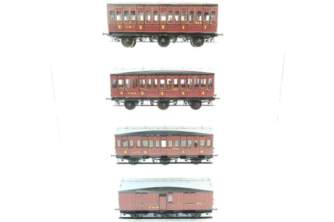 7mm Finescale O Gauge Kit Built Rake of Four LMS Lined Maroon Suburban Coaches