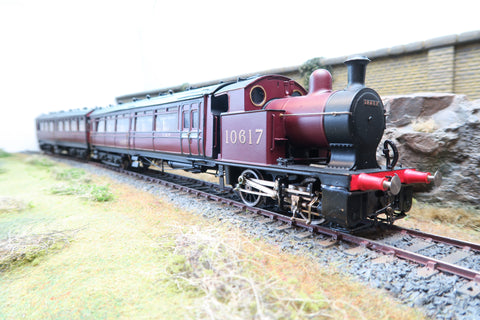 7mm Finescale O Gauge Kit Built LMS Maroon Railmotor '10617' & Trailing Coach