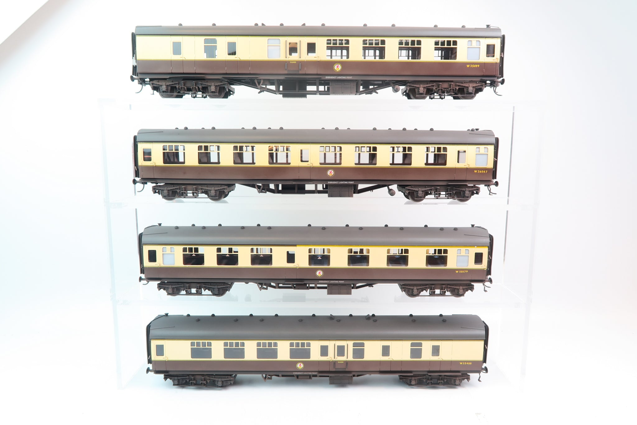 Darstaed 7mm Finescale O Gauge Mk1 Coaches Set A (4 Coaches) Chocolate and Cream, Professionally Weathered & Numbered