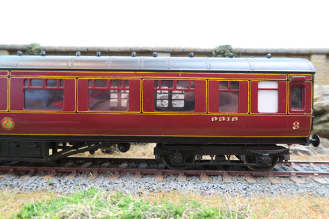 7mm Finescale O Gauge Kit Built LMS Maroon Lined Brake Composite Coach '9318'