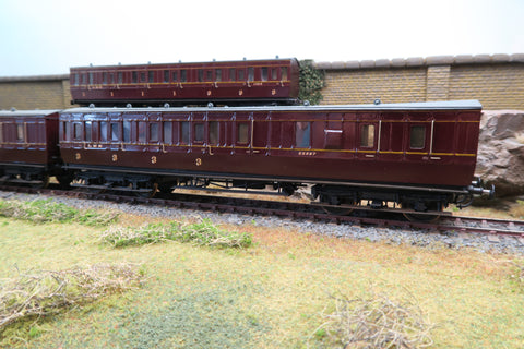 7mm Finescale O Gauge Kit Built Rake of Three LMS Maroon Suburban Coaches