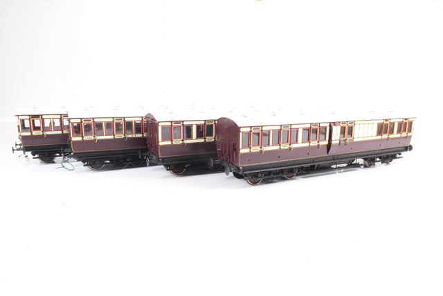 Gauge 1 Kit Built Rake of 4 Caledonian Coaches