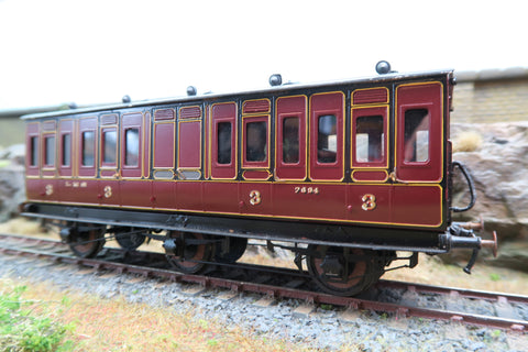 7mm Finescale O Gauge Kit Built LMS Lined Maroon Suburban Third Class Coach '7694'