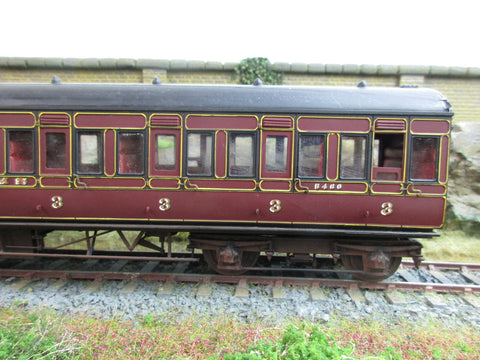7mm Finescale O Gauge Kit Built LMS Maroon Lined Third Class Compartment Coach '5460'