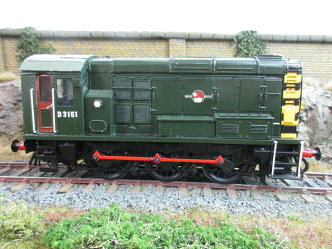7mm Finescale O Gauge Kit Built BR Green 08 Shunter 'D3151' with Wasp Stripes