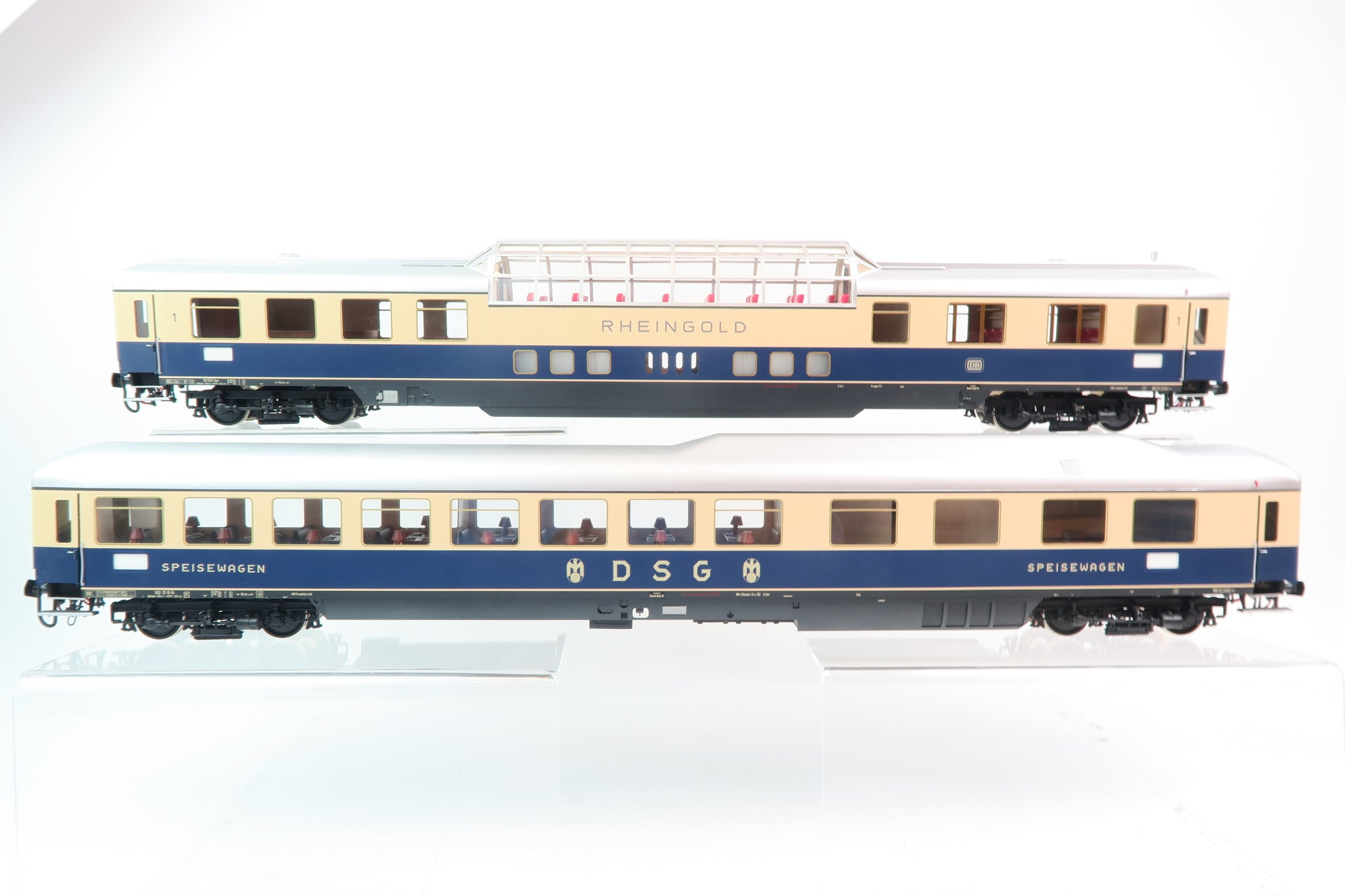 Wunder O Gauge Rheingold Blue and Beige Epoche III Dome Car and Restaurant Car